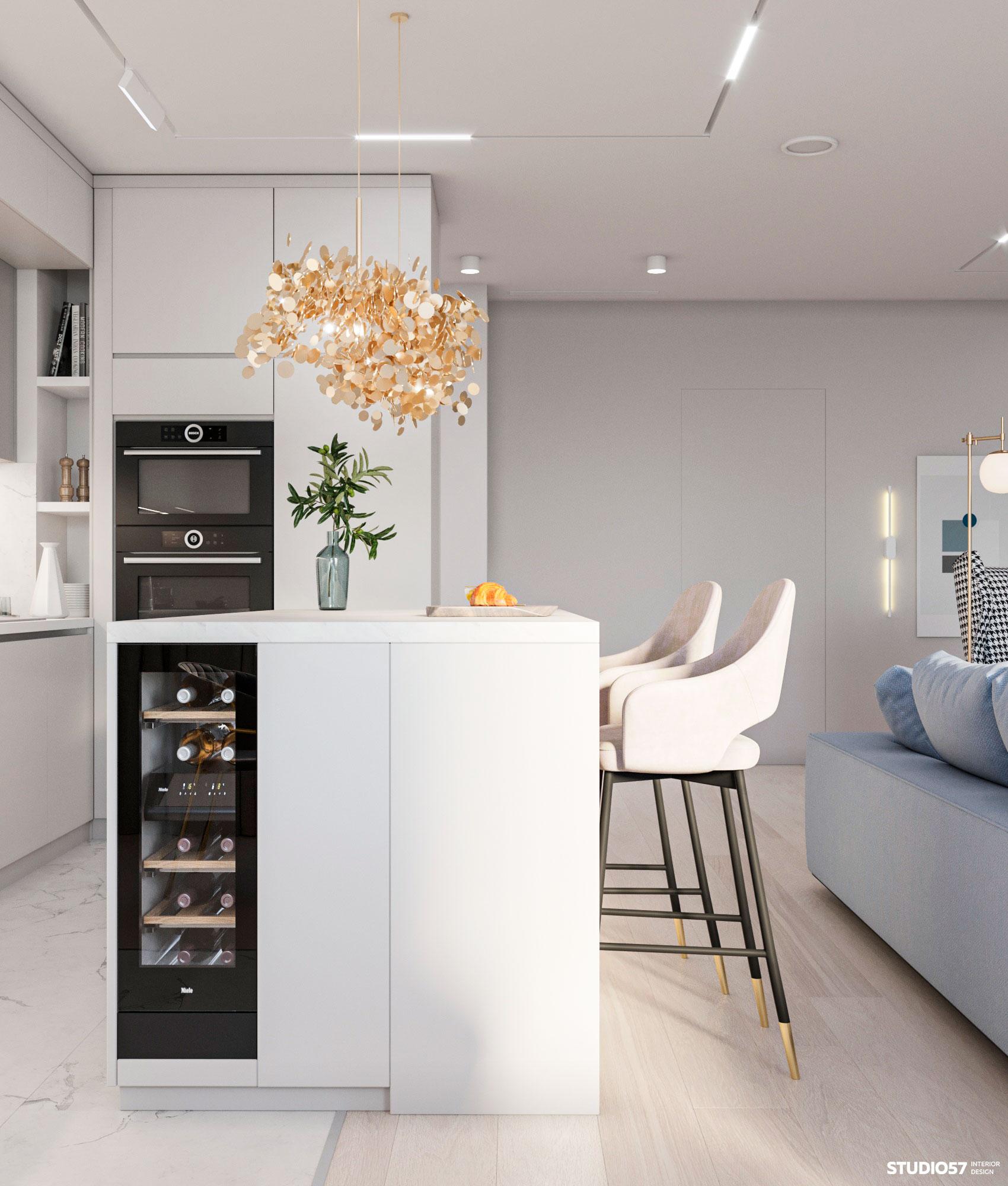 Дизайн кухни-гостиной. Вид 4.