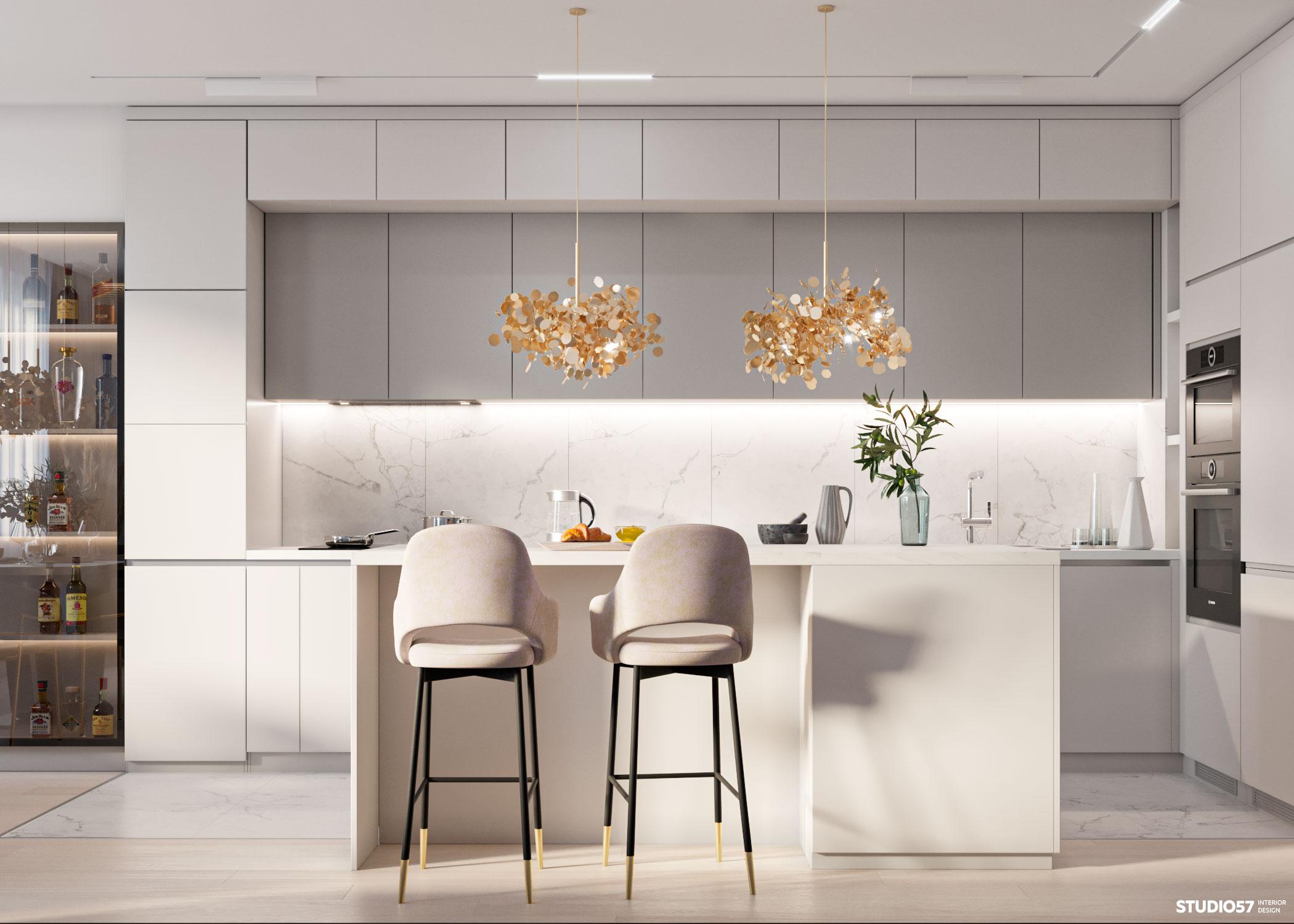Дизайн кухни-гостиной. Вид 2.