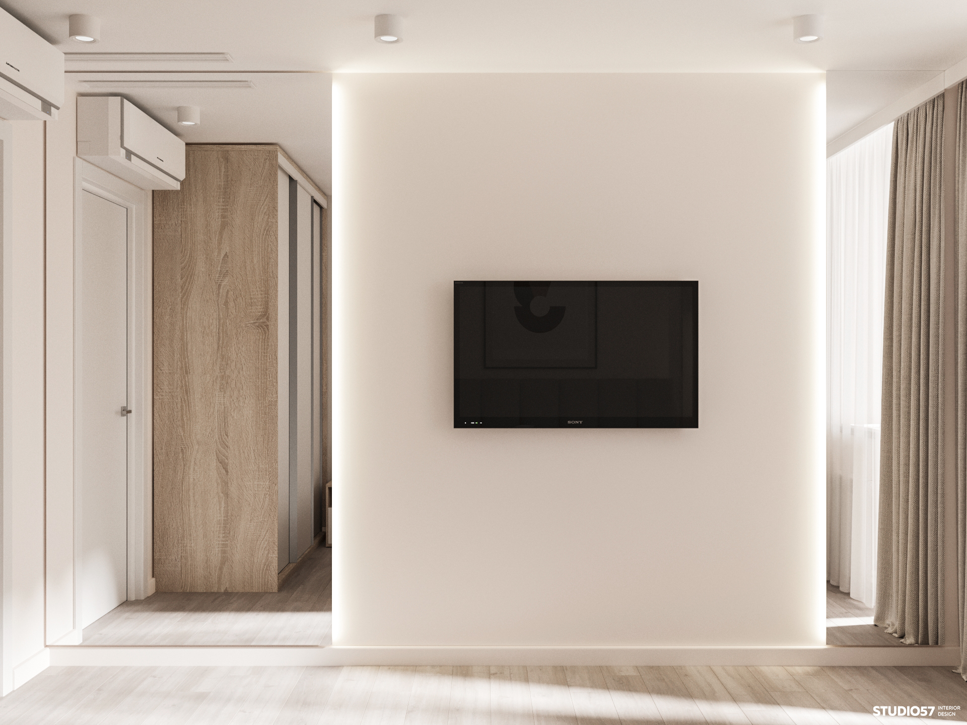 Дизайн спальни. Зона ТВ.