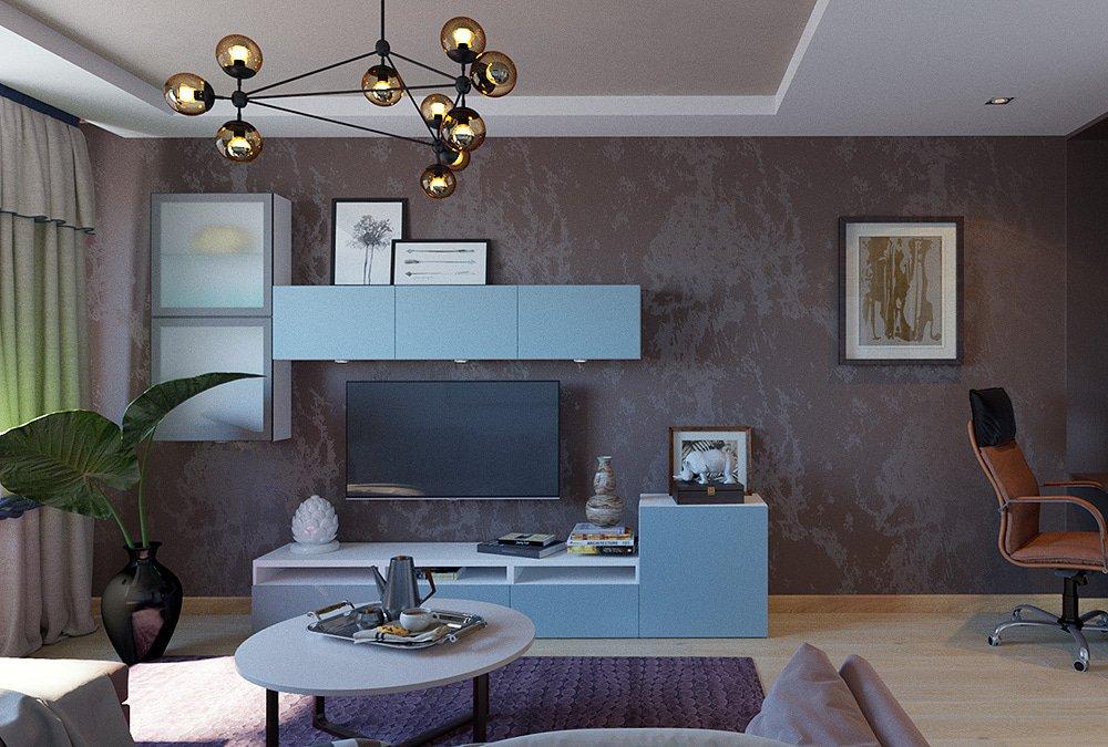 Дизайн двухкомнатной квартиры гостиная