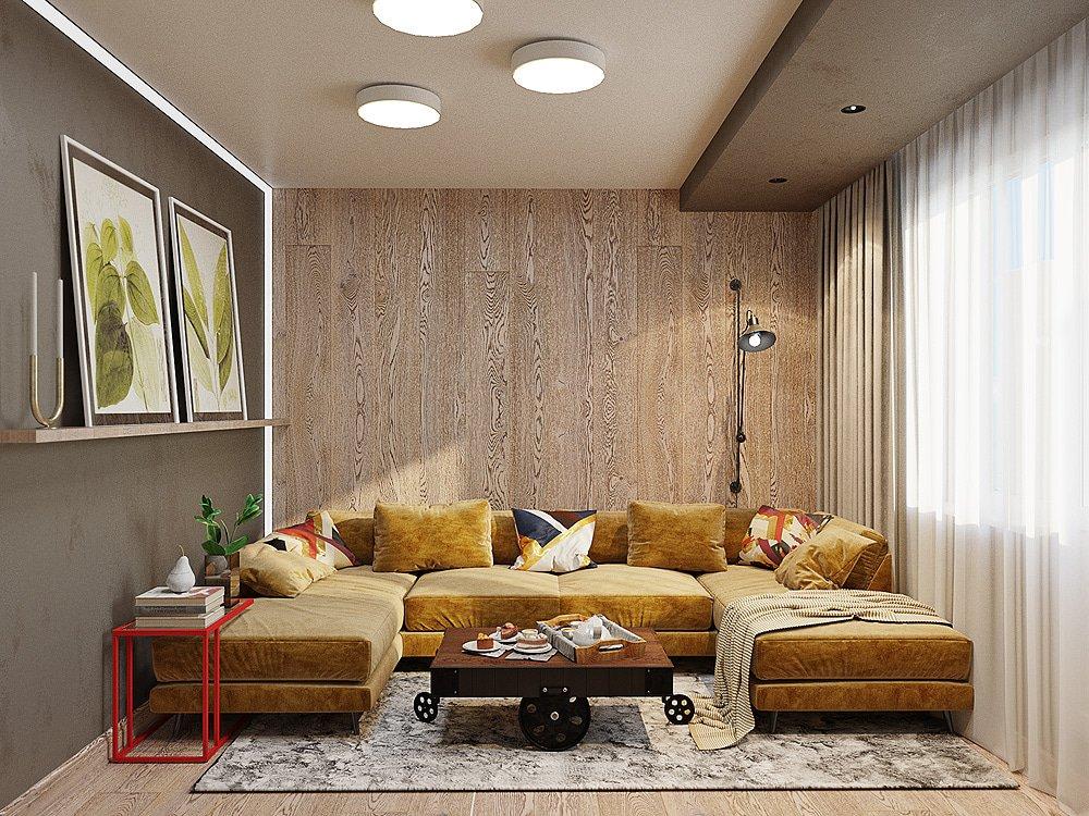 Большой диван в интерьере квартиры