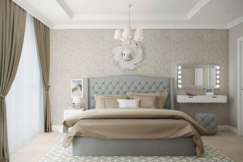 Большая спальня в кремовых оттенках