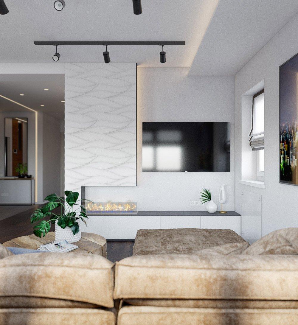 Стенд с подсветкой в гостиной части квартиры