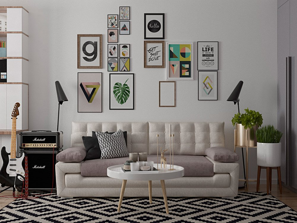 Картины на стене в интерьере гостиной