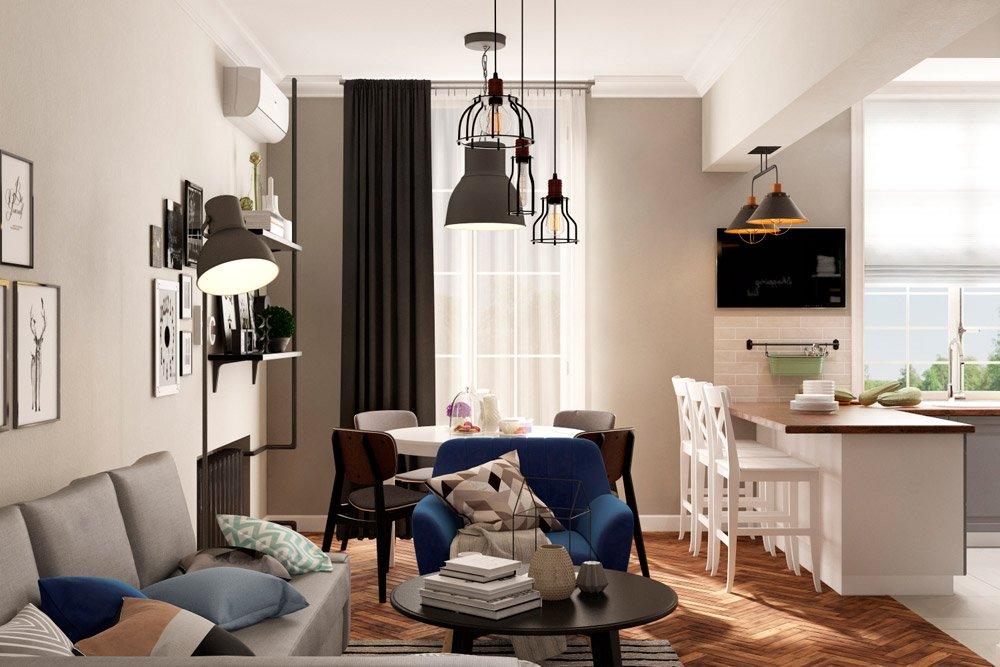 Пример дизайна трёхкомнатной квартиры
