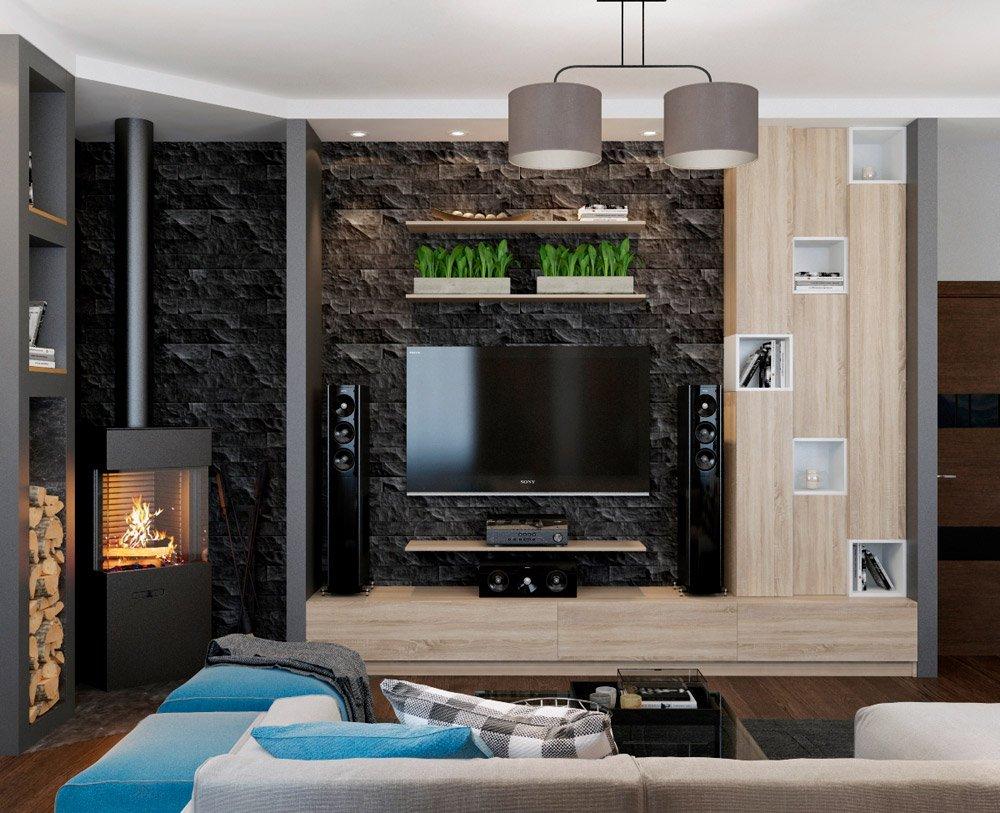 Дизайн гостиной с чёрной стеной