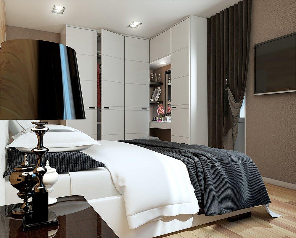 Большой угловой шкаф в дизайне спальни