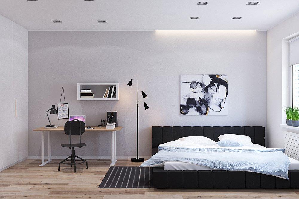 Чёрно-белая спальня в стиле минимализма