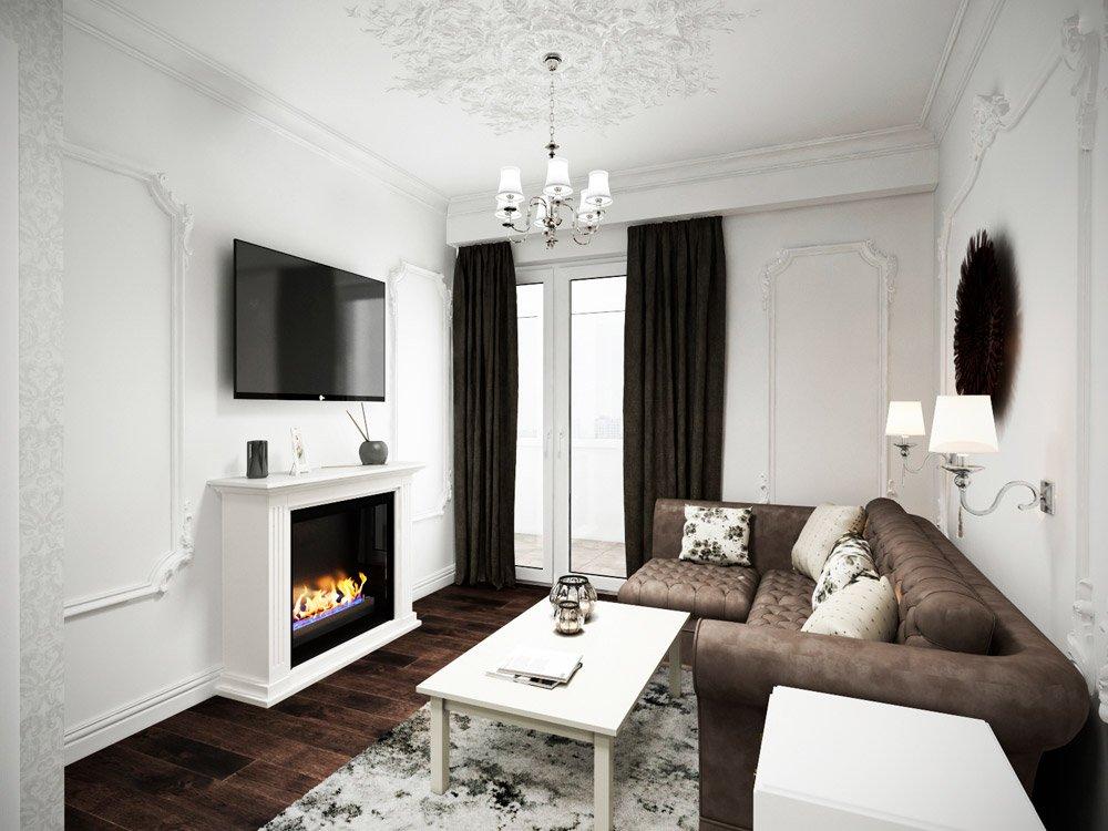 Дизайн гостиной в двух контрастных оттенках
