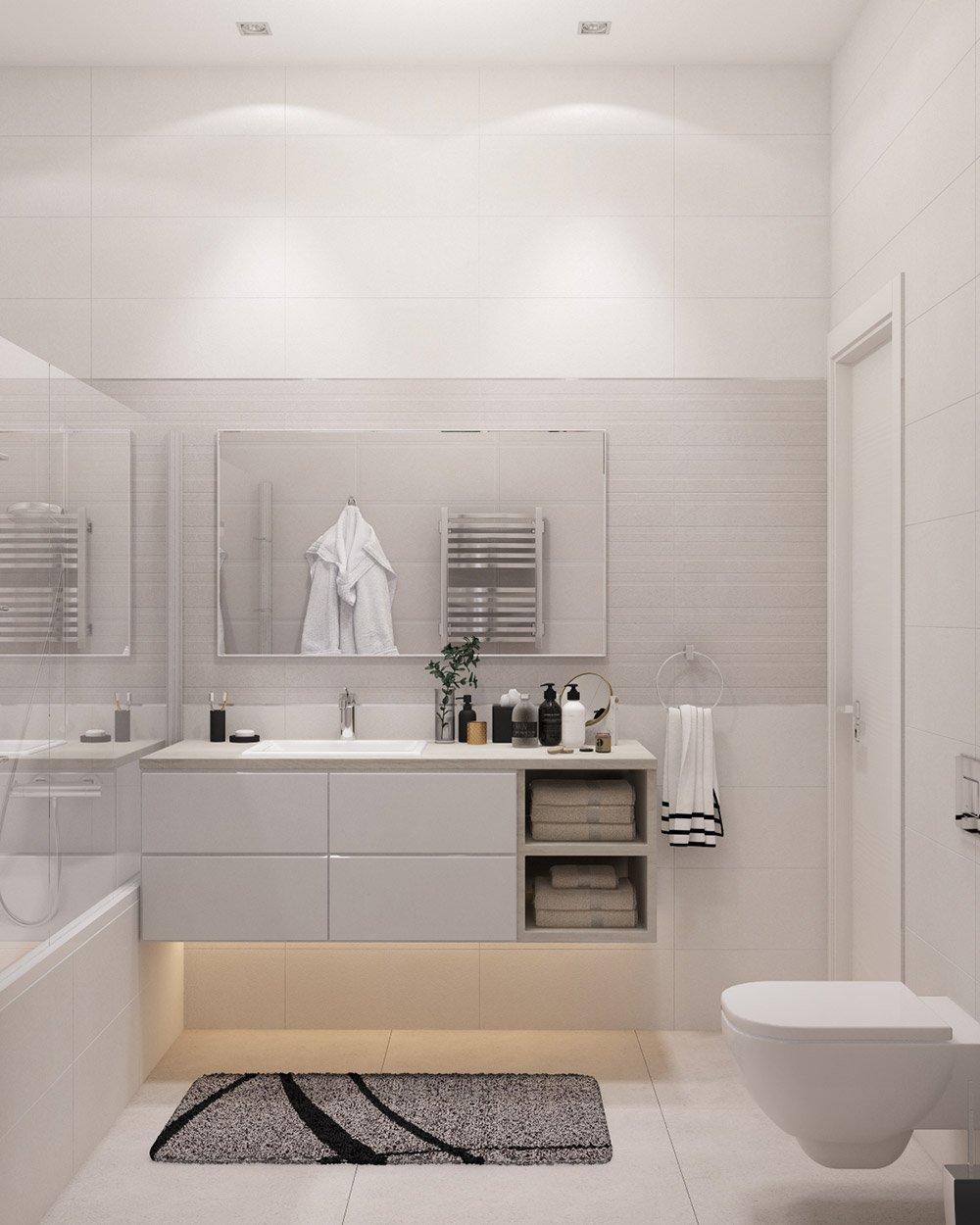 Дизайн ванной в цвете слоновой кости
