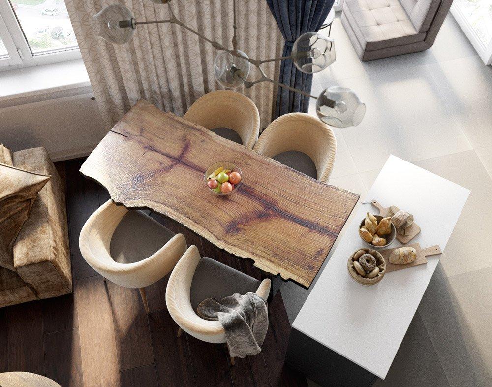 Дизайн дубового стола в кухне