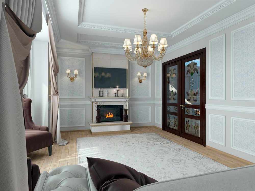 Дизайн гостиной с электронным камином