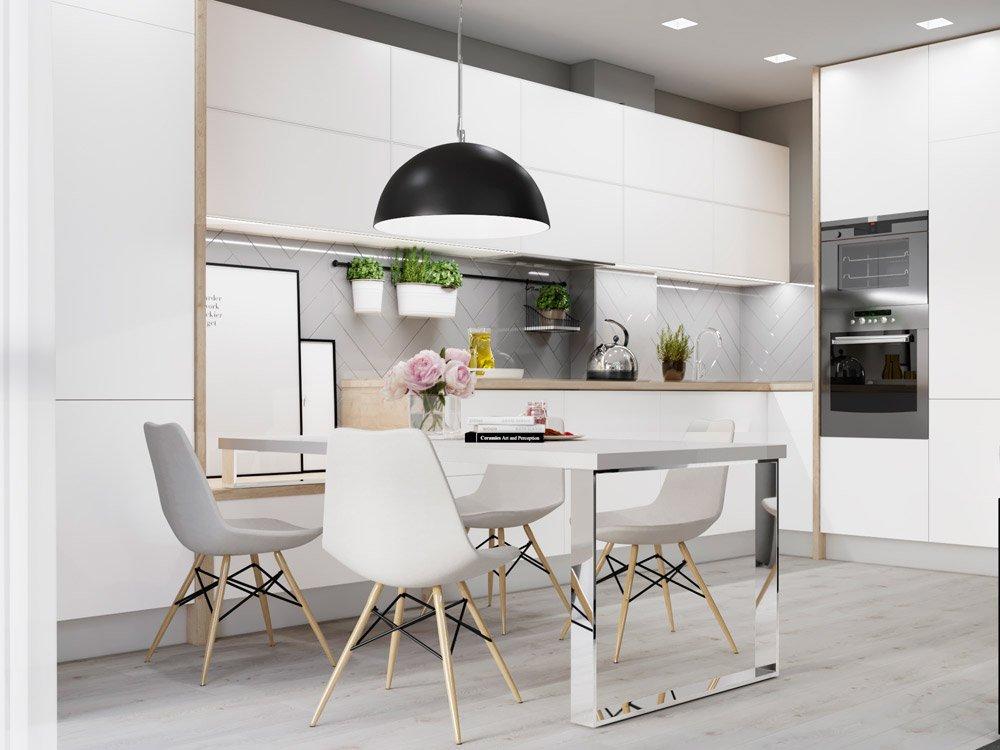 Дизайн проект белой кухни