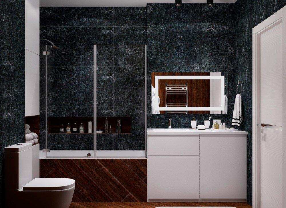 Дизайн ванной комнаты в очень тёмных оттенках