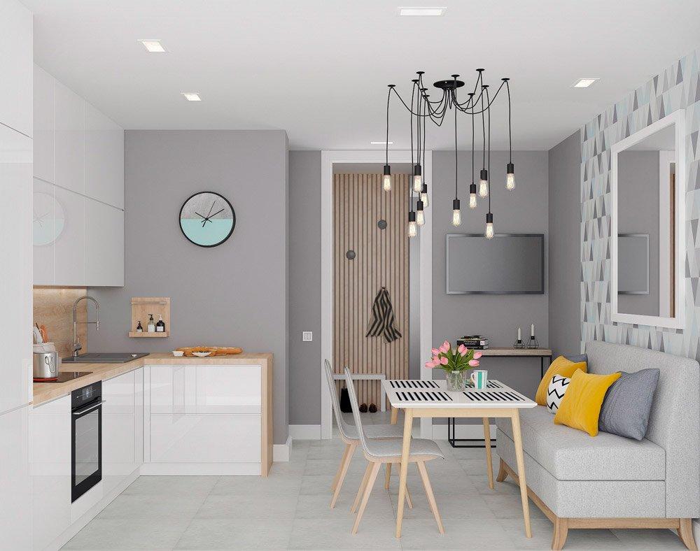 Проект кухни с серыми стенами