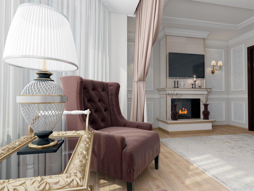 Классический дизайн в светлой гостиной