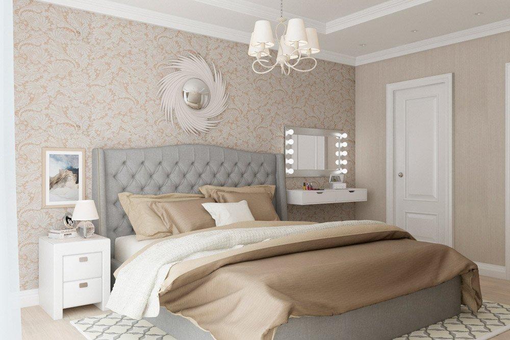 Двухспальная кровать в просторной спальне