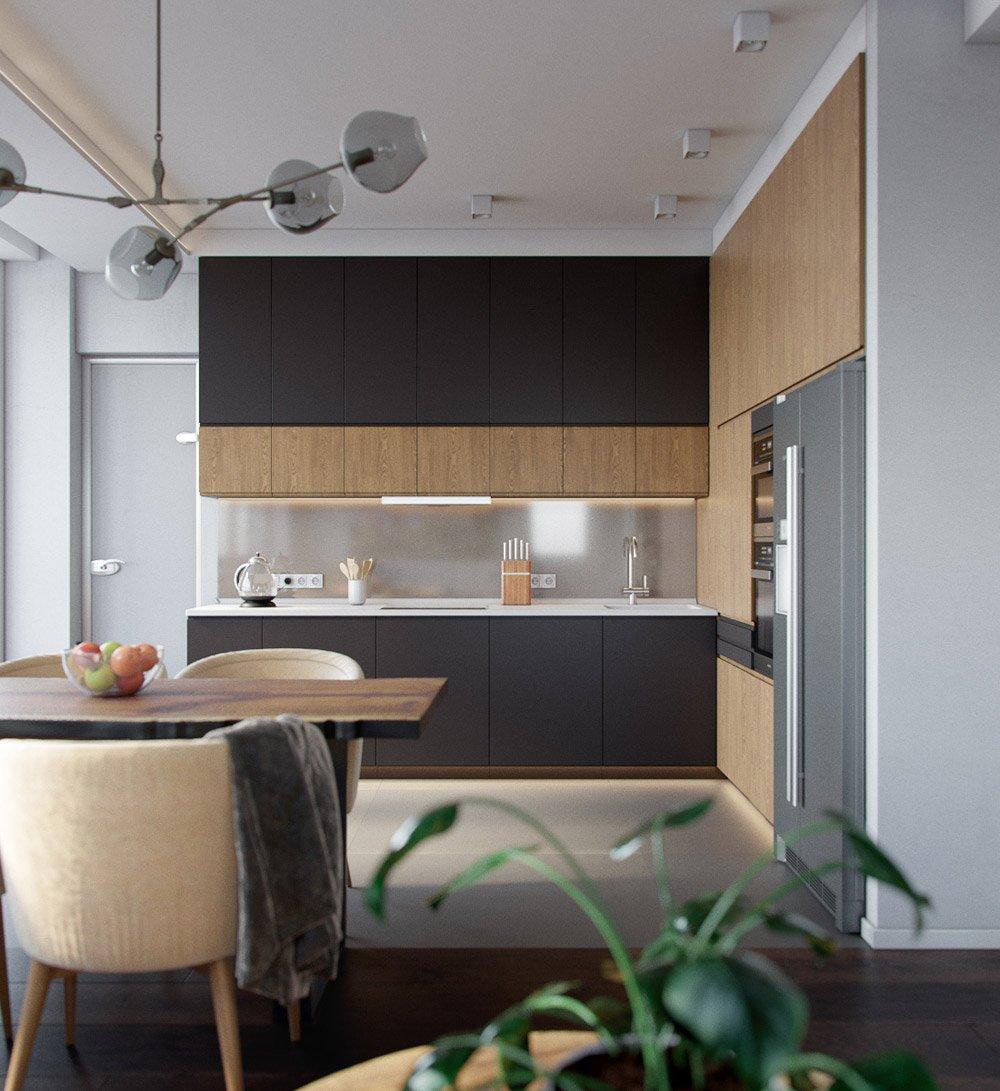 Дизайн кухни с деревянной обработкой