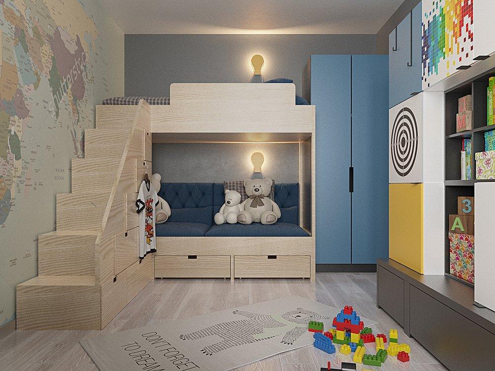 Заказать дизайн детской комнаты для двух детей