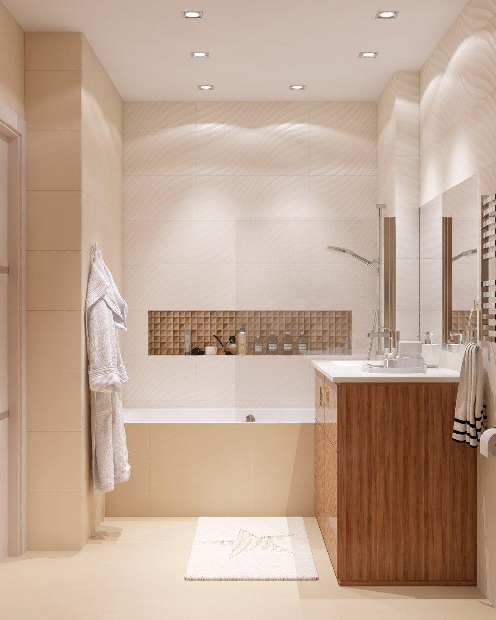 Бежевая плитка в ванной