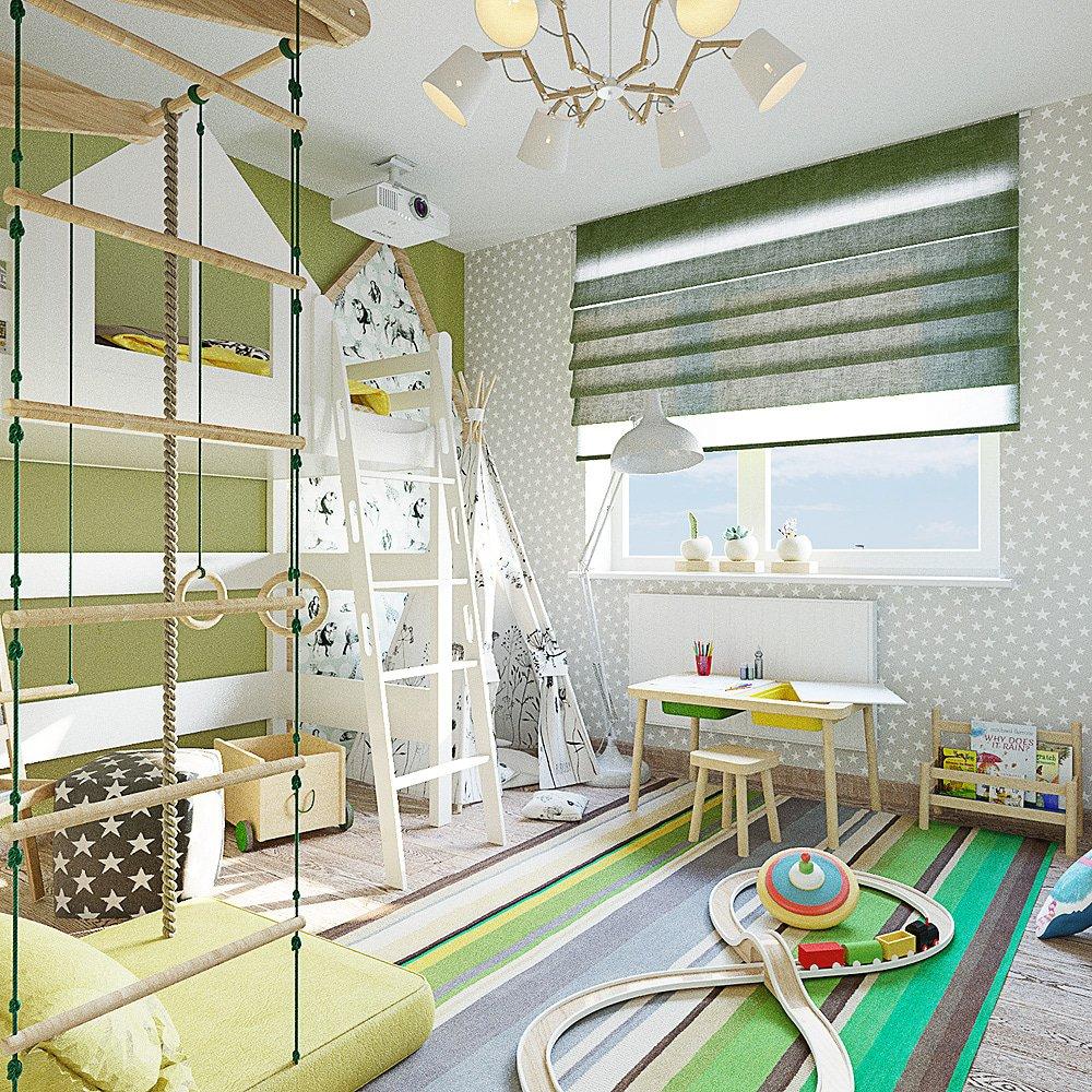 Дизайн светлой детской комнаты с зеленью