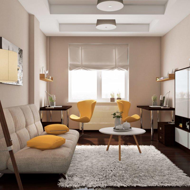 Фото гостиной с жёлтым цветом