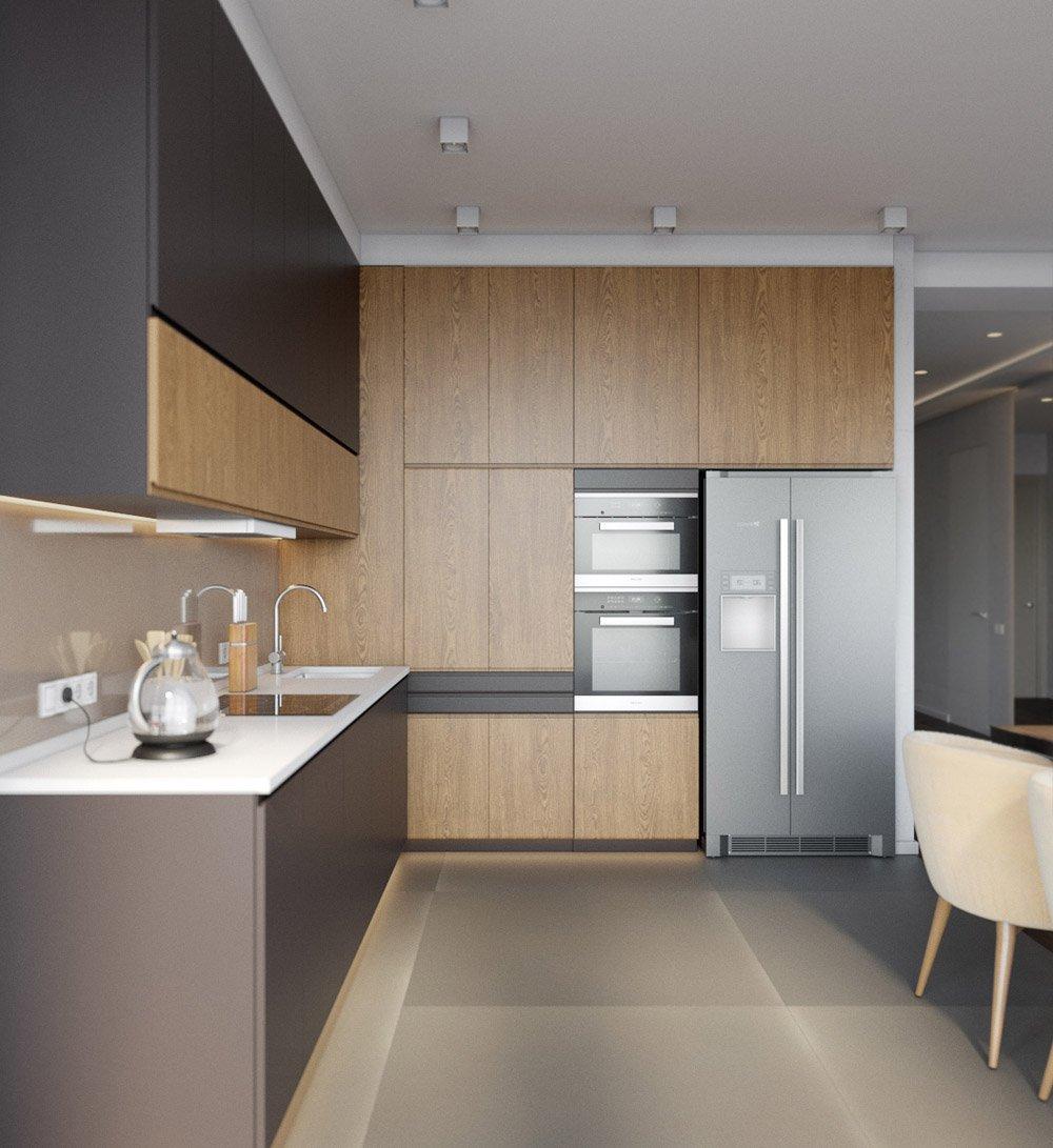 Дизайн кухни с деревянными шкафами