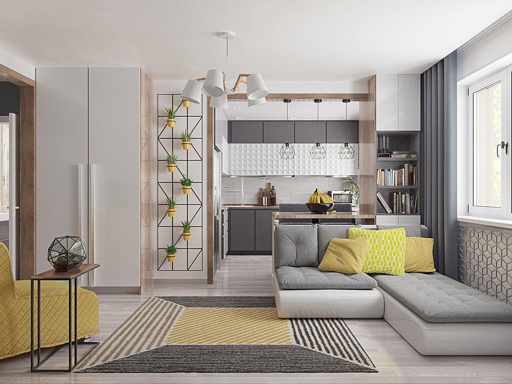 Фото просторной гостиной с кухней