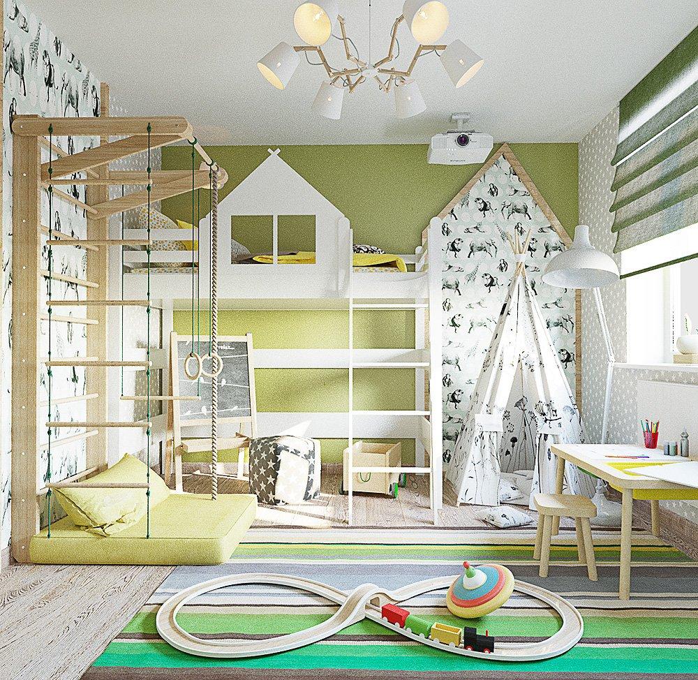 Белый и зелёный цвета в оформлении дизайна детской