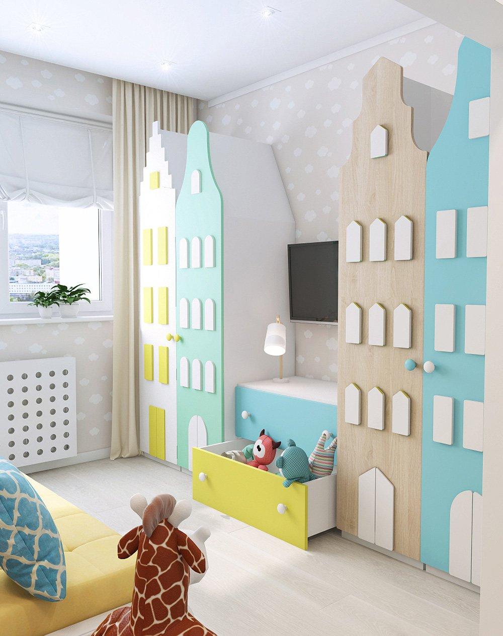 Яркие шкафчики для игрушек в детской