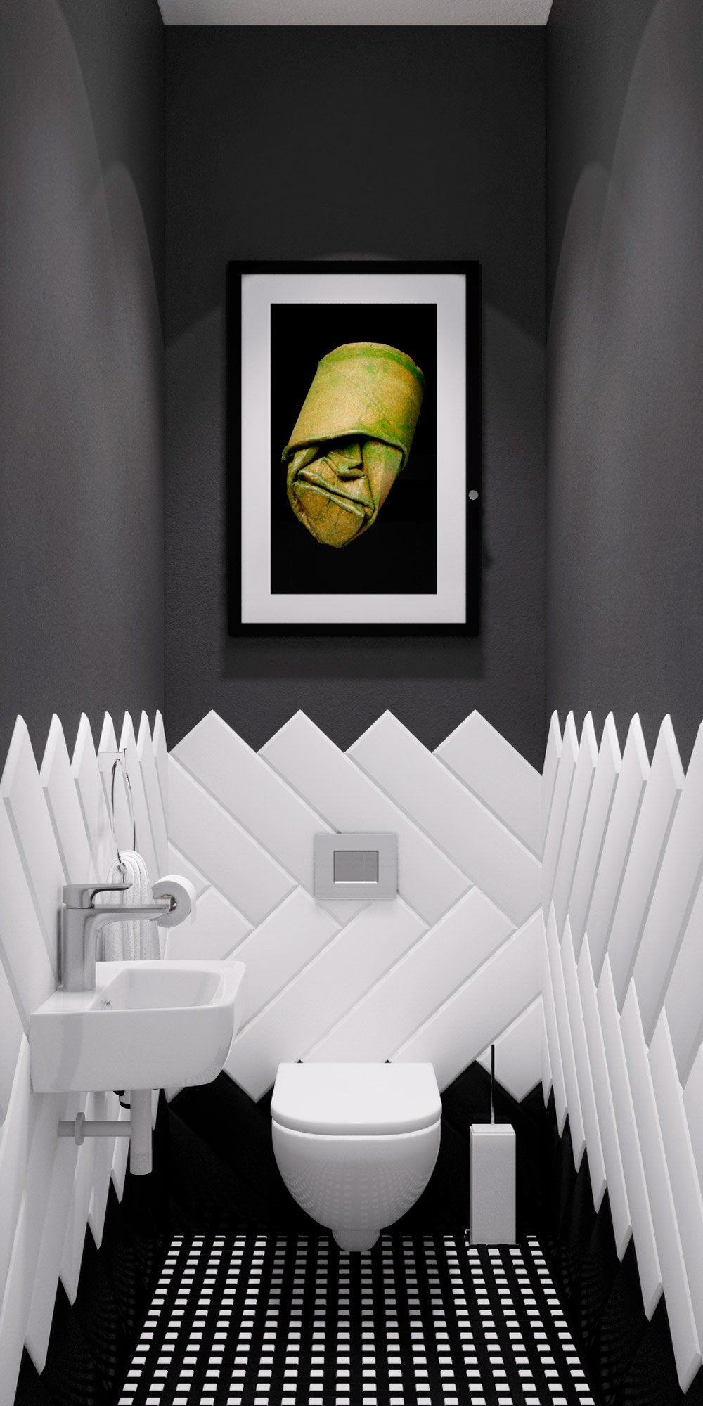 Дизайн туалета с плиткой и крашенной стеной