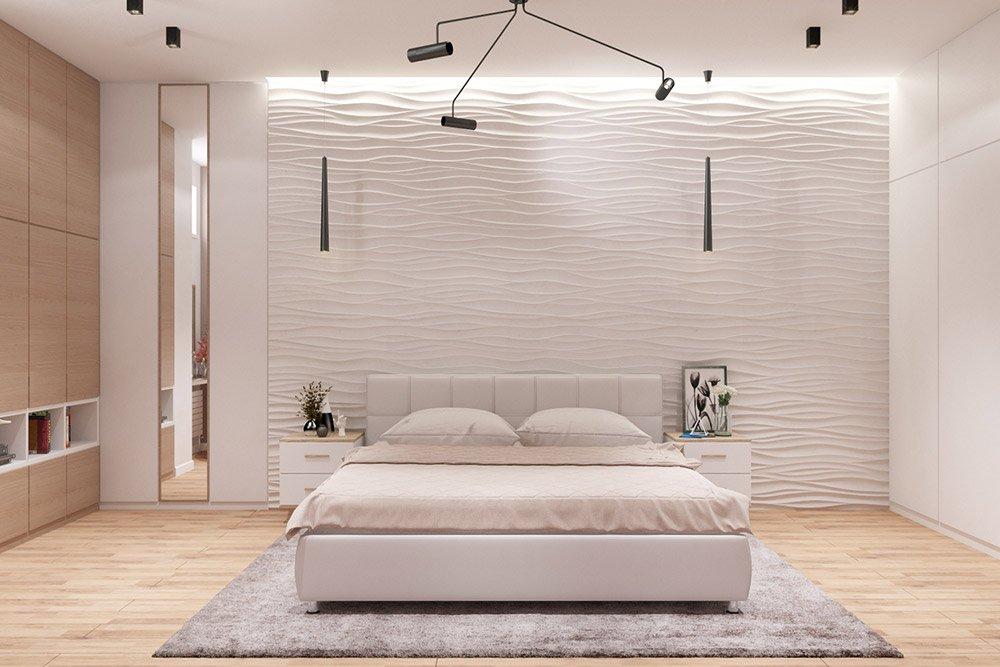Дизайн проект большой спальни в белом цвете