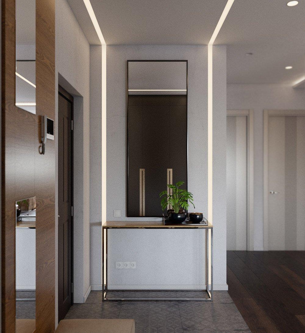 Дизайнерское решение освещения в коридоре