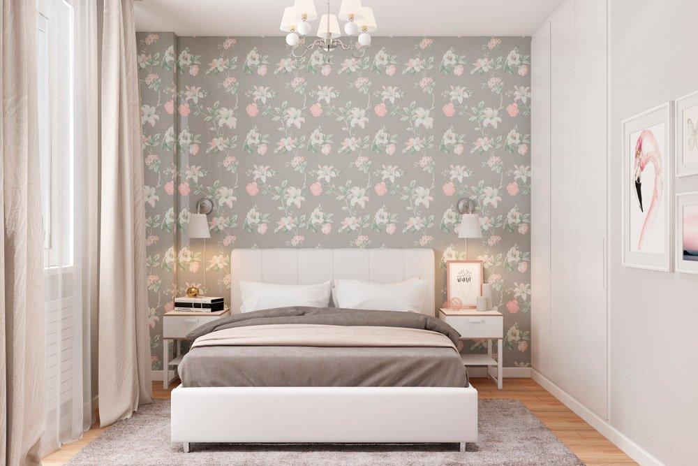 Обои с цветами в дизайне спальни