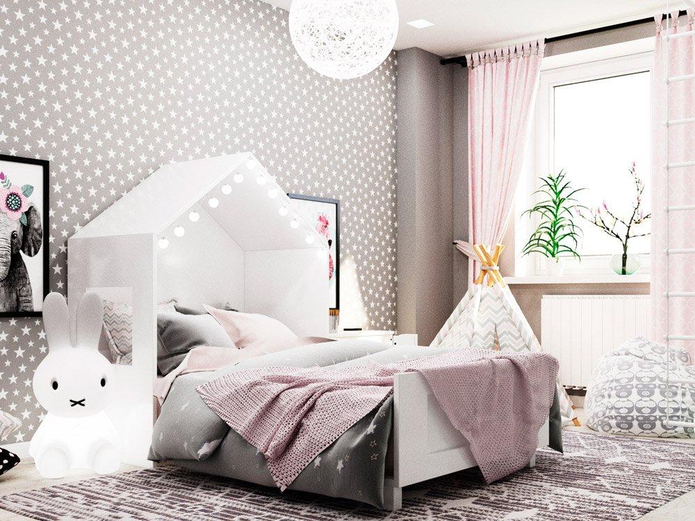 Серый и розовый цвет в интерьере детской