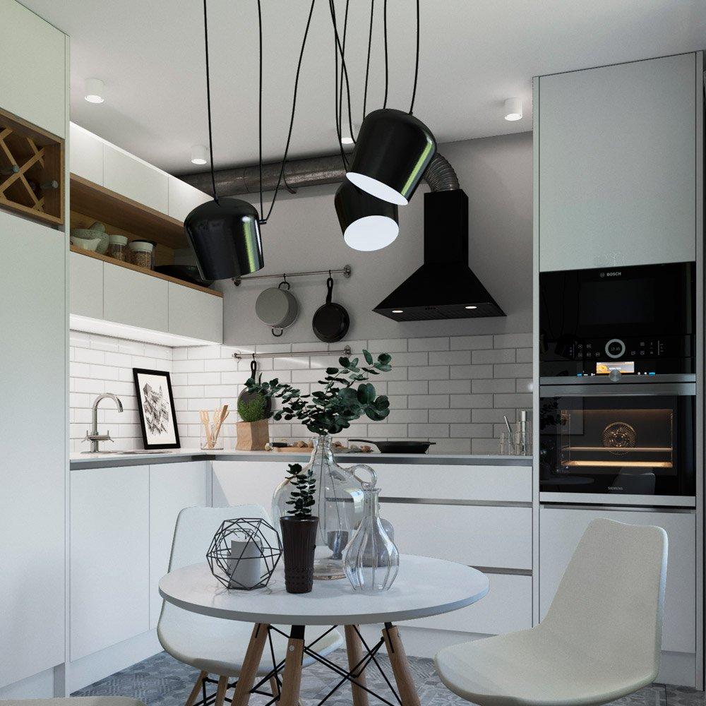 Дизайн кухни с подвесными светильниками