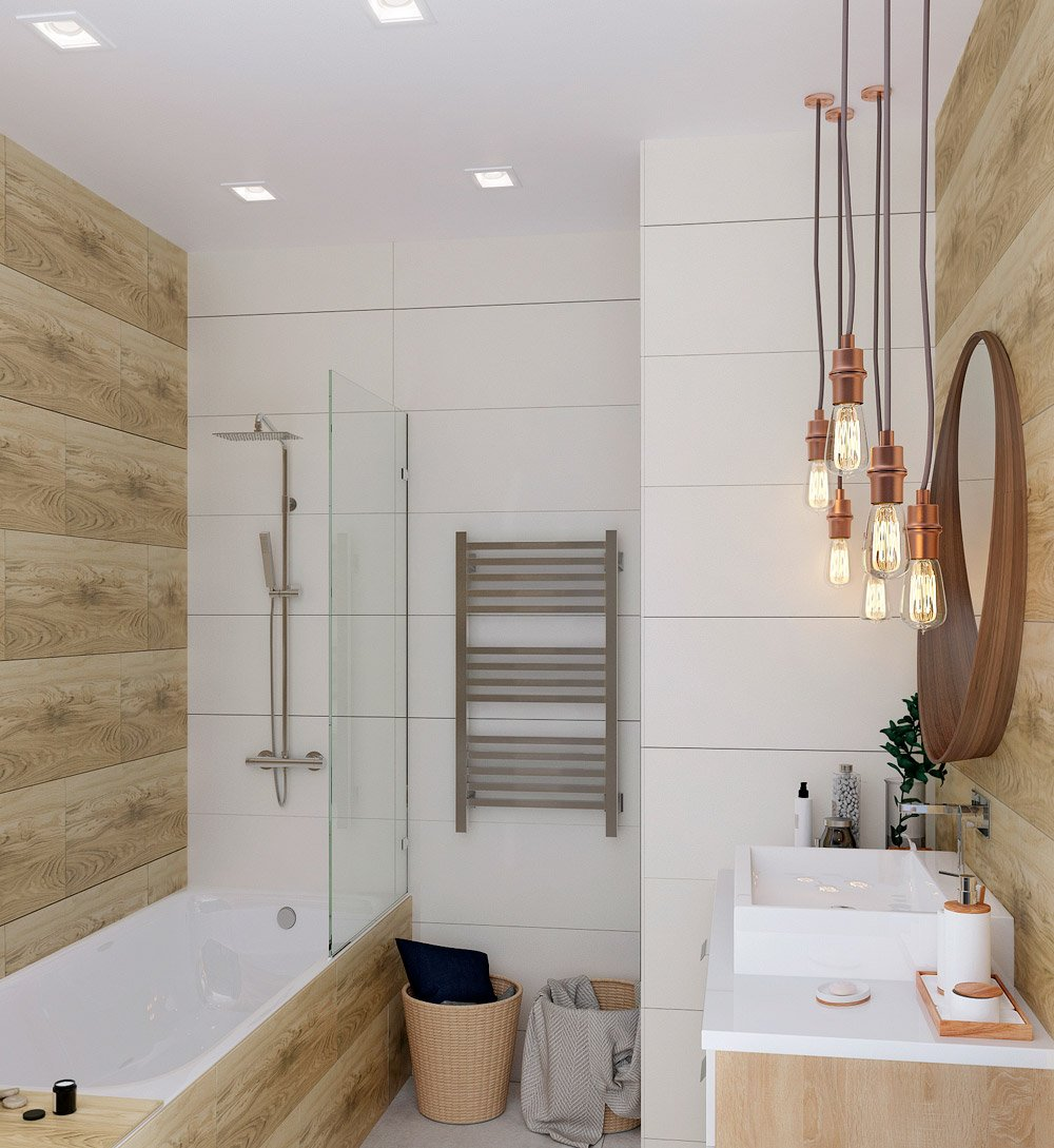 Деревянные стены в интерьере ванной