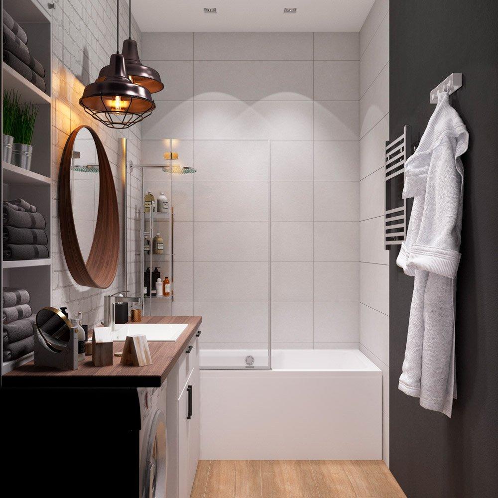 Дизайн ванной с кирпичной плиткой