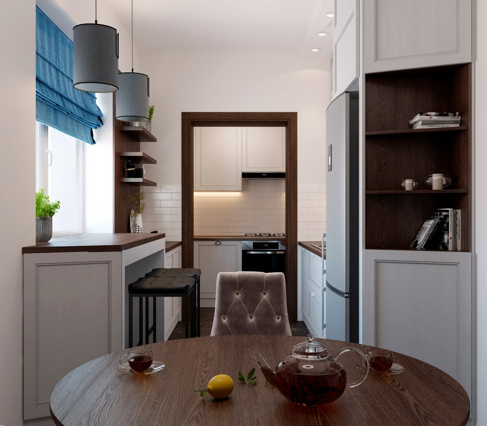 Дизайн интерьера очень маленькой кухни