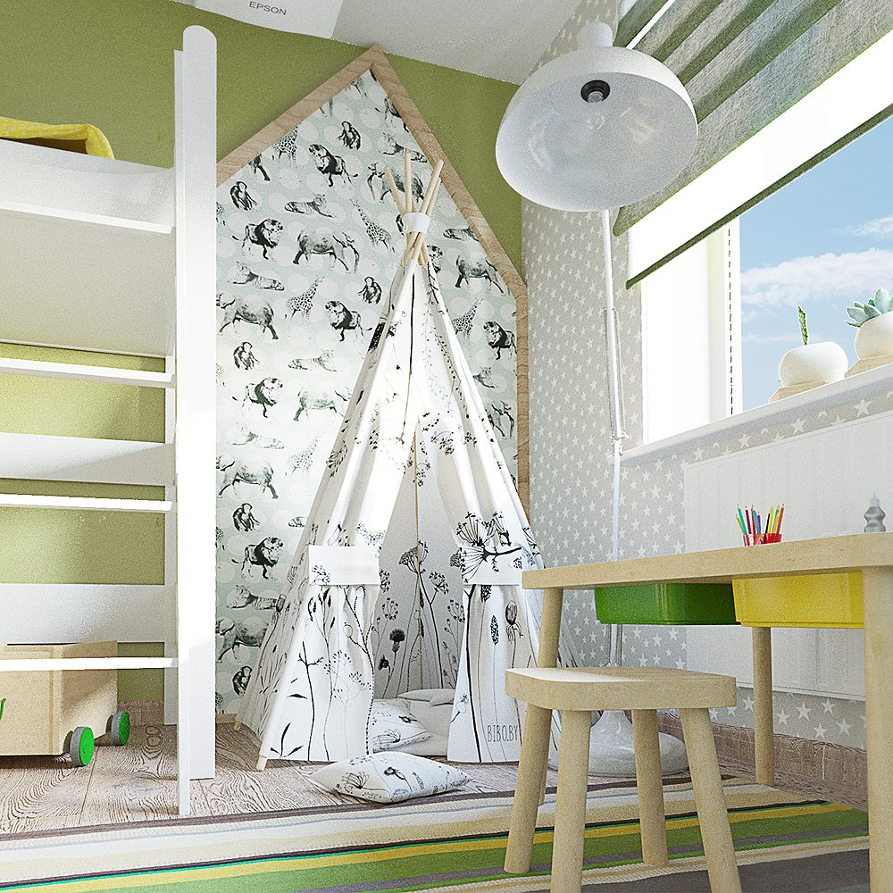 Светлая зелёная комната в зелёных оттенках