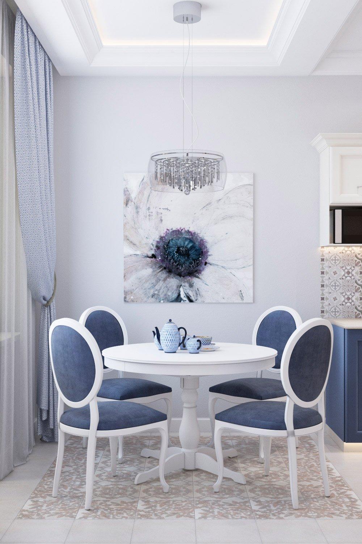 Интерьер столовой зоны в синих цветах