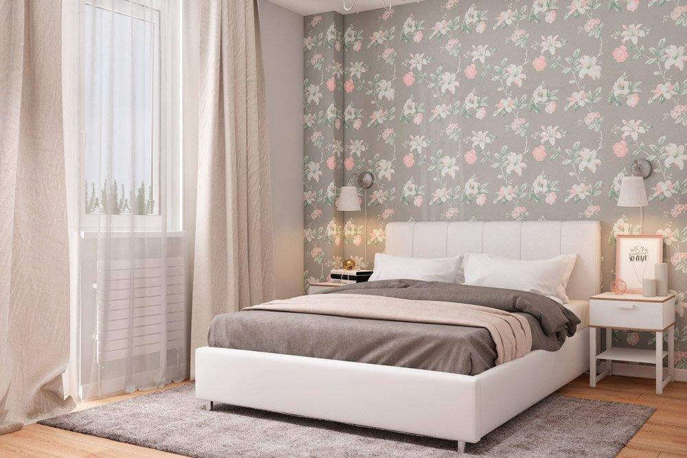 Фото дизайна спальни с цветами