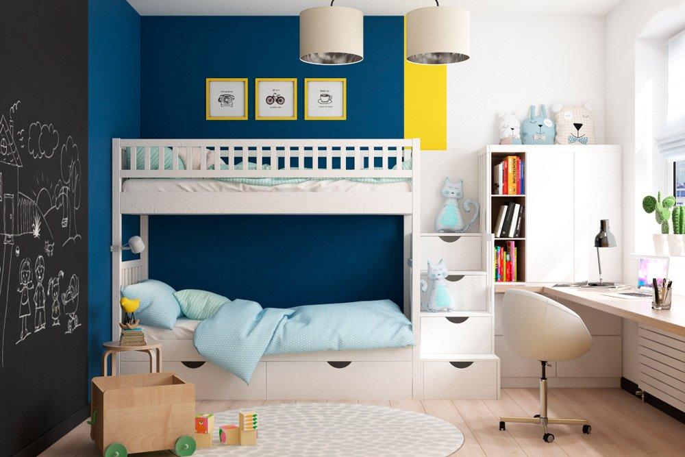 Яркий дизайн детской для двух детей