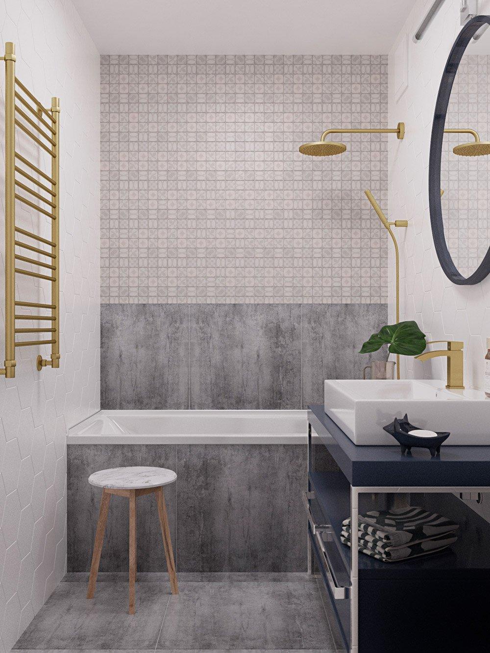 Интерьер ванной с разной плиткой