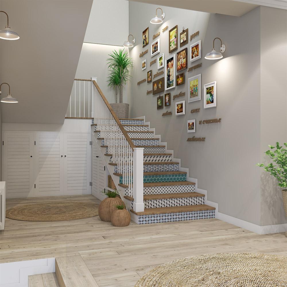 Необычный дизайн лестницы в двухэтажном доме