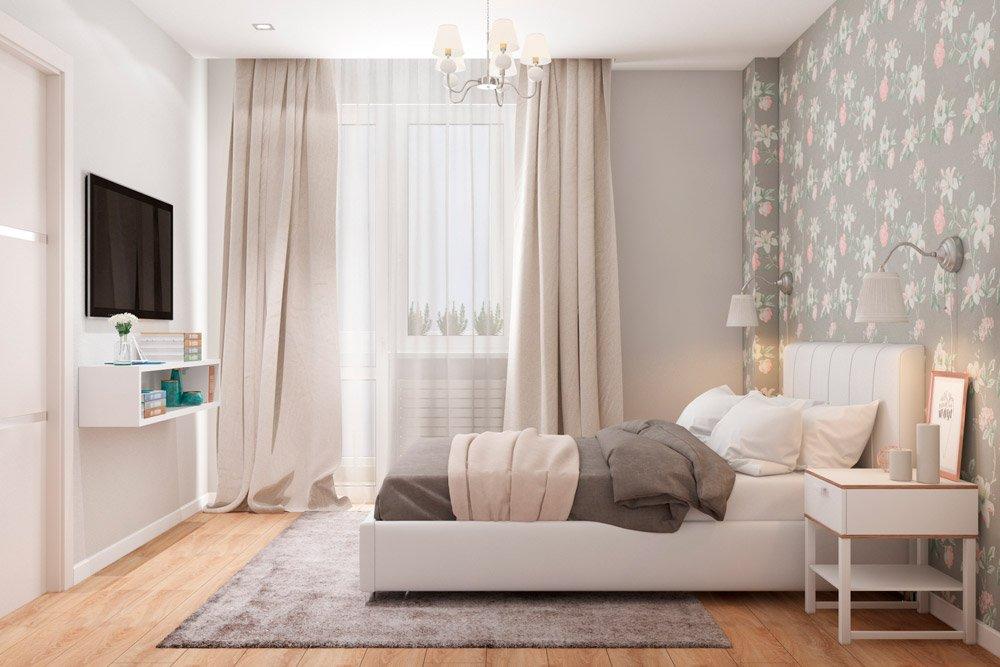 Серый и розовый в дизайне спальни