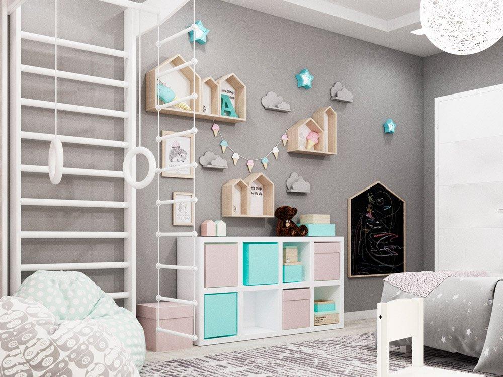 Розовая серая комната для маленькой девочки