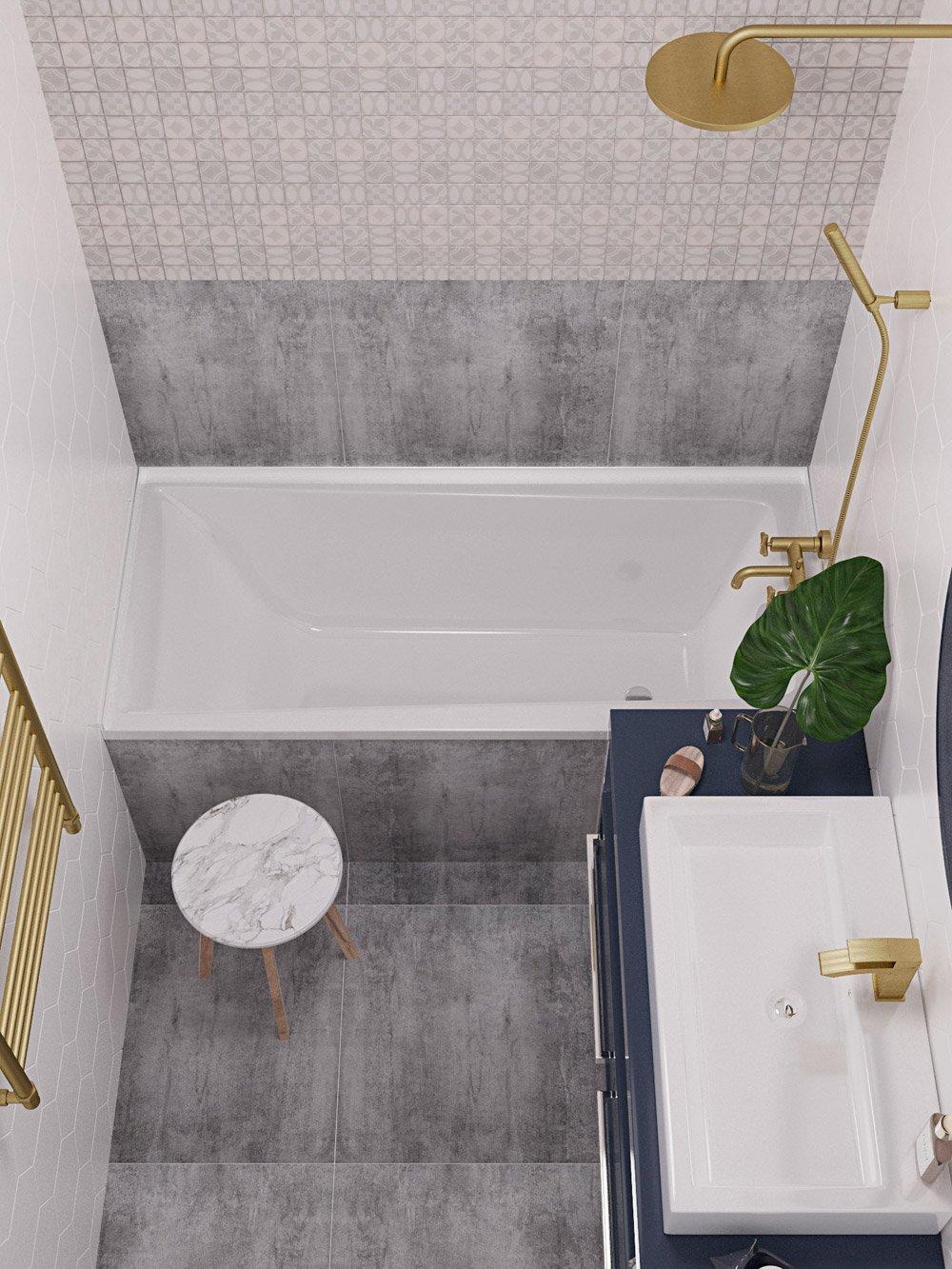 Интерьер ванной в серых тонах вид сверху