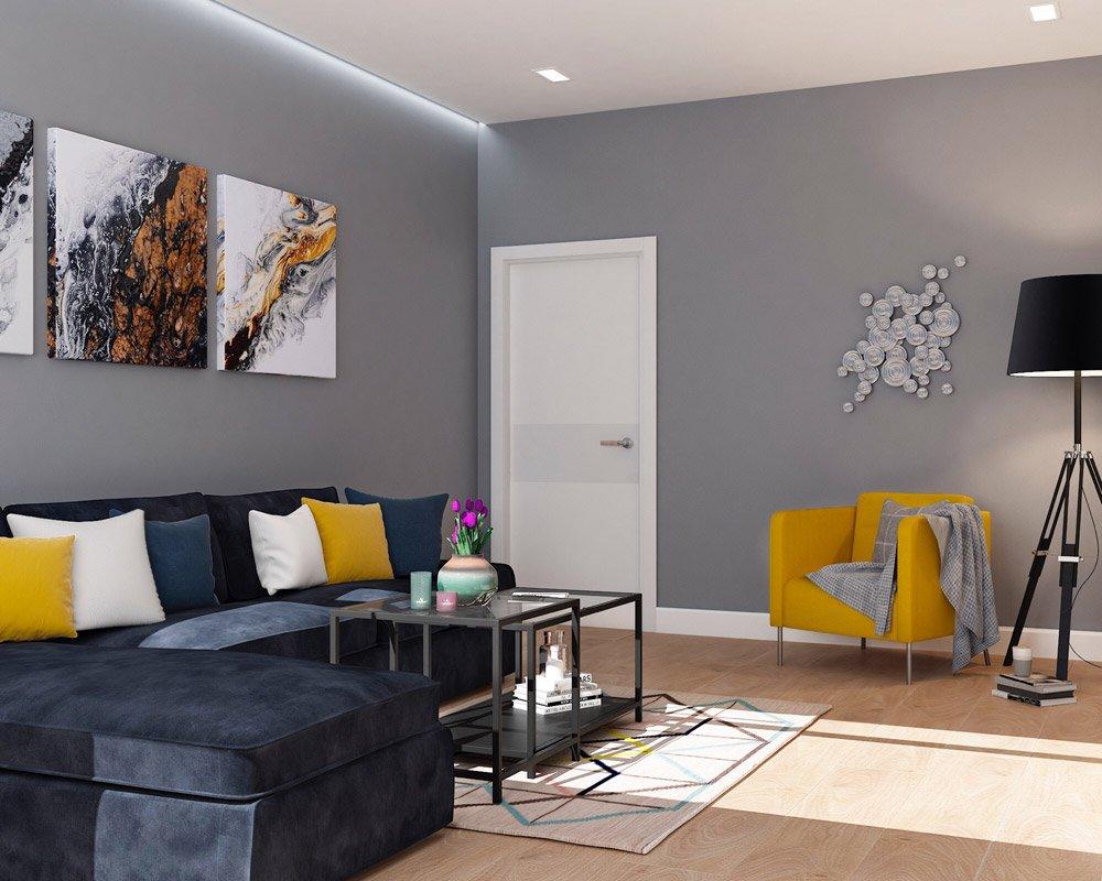 Яркая мебель в светлой гостиной