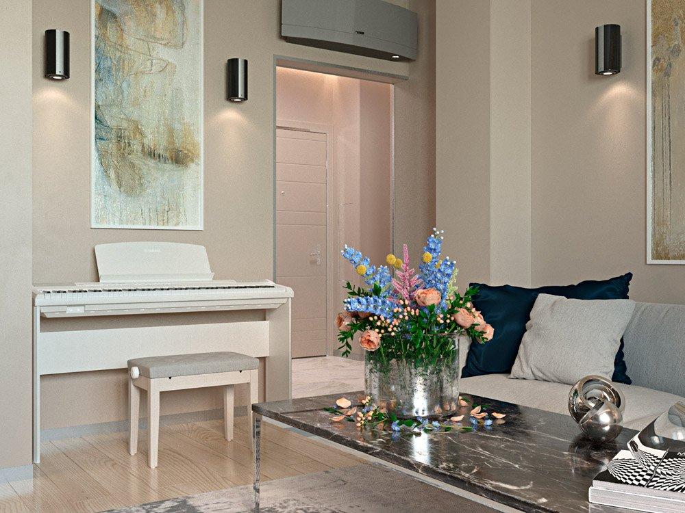 Компактное пианино в белом цвете